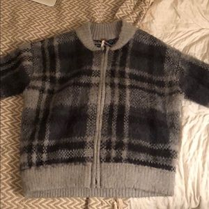 Free People Plaid Sweater Bomber